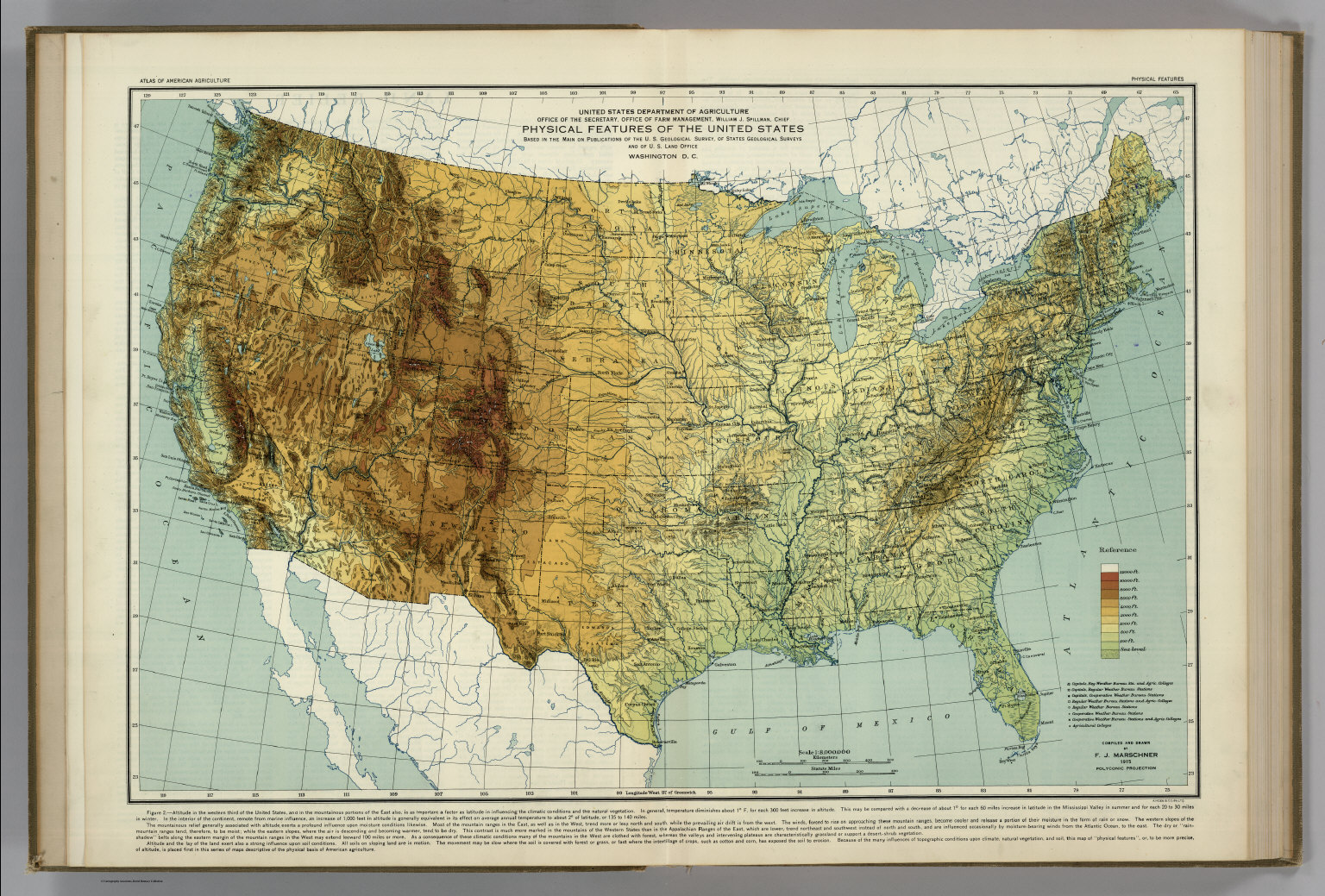 Physical Features of the United States  Atlas of American     Physical Features of the United States  Atlas of American Agriculture