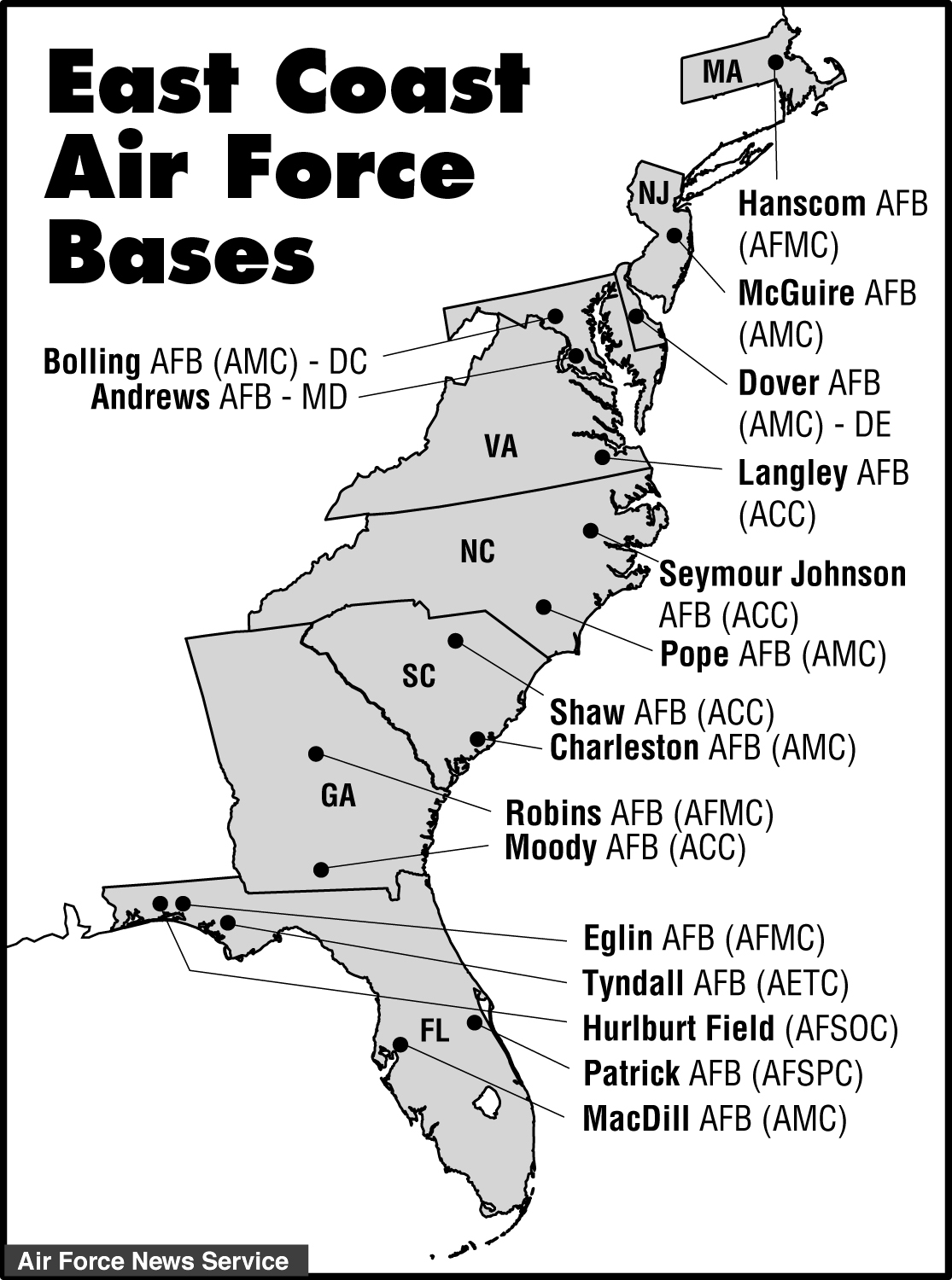 East Coast Air Force Bases