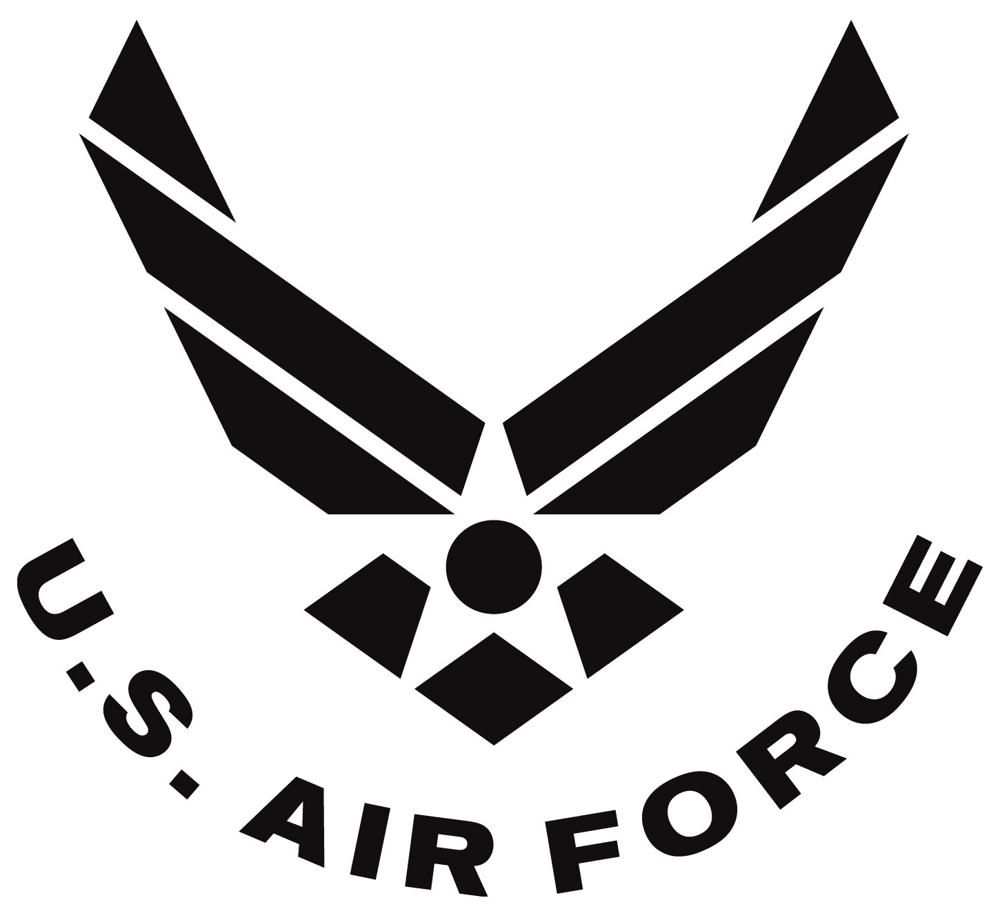 Air Force Symbol Curved Text Black