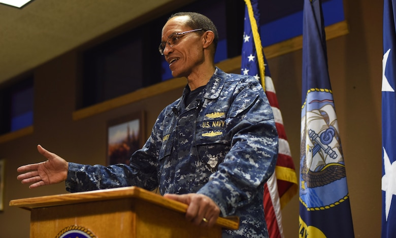 Navy Adm. Cecil D. Haney, commander of U.S. Strategic Command, addresses local media at Malmstrom Air Force Base, Mont., Jan. 14, 2016. During his visit there, Haney had breakfast with airmen and leaders; toured the security forces, missile maintenance and other facilities; and discussed Stratcom's mission areas and priorities and Malmstrom's role in deterrence and assurance with Malmstrom personnel. Stratcom has global strategic missions that include strategic deterrence; space operations; cyberspace operations; joint electronic warfare; global strike; missile defense; intelligence, surveillance and reconnaissance; combating weapons of mass destruction; and analysis and targeting. U.S. Air Force photo by Airman Collin Schmidt