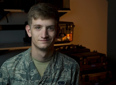 Airman 1st Class Dylan Wisuri, 921st Contingency Response Squadron, poses for a photo at Travis Air Force Base, Calif., July 14, 2016. (U.S. Air Force photo Master Sgt. Joseph Swafford)