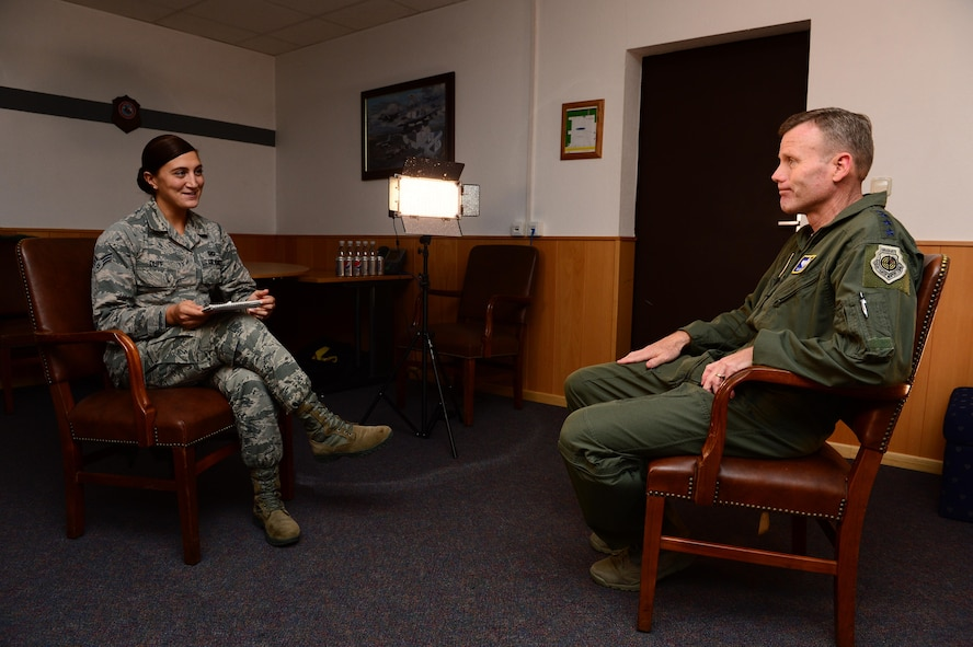 Gen. Tod D. Wolters, U.S. Air Forces in Europe and Air Forces Africa commander, right, listens to a question by Senior Airman Emma Duff, American Forces Network broadcaster, left, during his visit to Spangdahlem Air Base, Germany, Oct. 6, 2016. Wolters made his first visit to Spangdahlem since assuming command in August 2016, speaking to Airmen on the importance and uniqueness of their mission priorities. (U.S. Air Force photo by Senior Airman Joshua R. M. Dewberry)