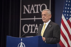 Defense Secretary Jim Mattis hosts a press conference at NATO headquarters in Brussels, Belgium, Feb. 16, 2017. Mattis traveled on to Munich, Germany, where he attended the Munich Security Conference and highlighted the importance of the alliance and the transatlantic bond. DoD photo by Air Force Tech. Sgt. Brigitte N. Brantley