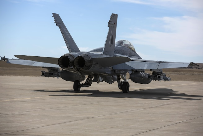 An F/A-18D Hornet taxis on a runway before takeoff during exercise Jaded Thunder 17 at Salina, Kansas, Feb. 22, 2017. Marine Corps photo by Lance Cpl. Zachary M. Ford