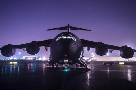 An Air Force C-17 Globemaster III sits on a ramp at Al Udeid Airbase, Qatar, before conducting combat airlift operations for U.S. and coalition forces in Syria in support of Operation Inherent Resolve, Oct. 27, 2017. Air Force photo by Tech. Sgt Gregory Brook