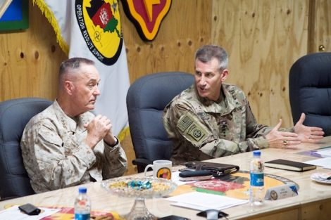 Marine Corps Gen. Joe Dunford, left, chairman of the Joint Chiefs of Staff, and Army Gen. John W. Nicholson Jr., commander of th eResolute Support mission and U.S. Forces Afghanistan, have a roundtable discussion with members of Train Advise Assist Command East at Forward Operating Base Gamberi, Afghanistan, March 21, 2018. DoD photo by Navy Petty Officer 1st Class Dominique A. Pineiro