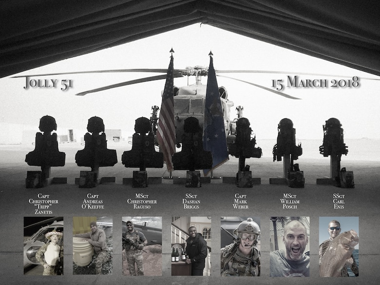 The seven men who died March 15 in a HH-60 Pave Hawk helicopter that crash in western Iraq were honored in a memorial ceremony at an undisclosed location in Southwest Asia March 21, 2018.