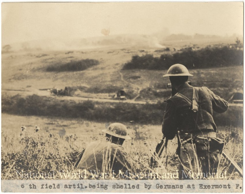 An Army field artillery unit is shelled by German forces in France.