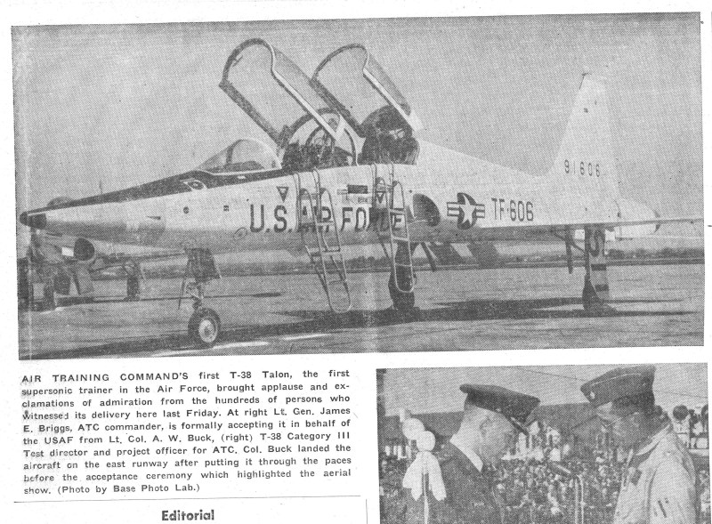 A scanned image from the Wingspread published in 1961 with a photo of the first T-38 to arrive at Randolph Air Force Base, Texas. (Courtesy photo)