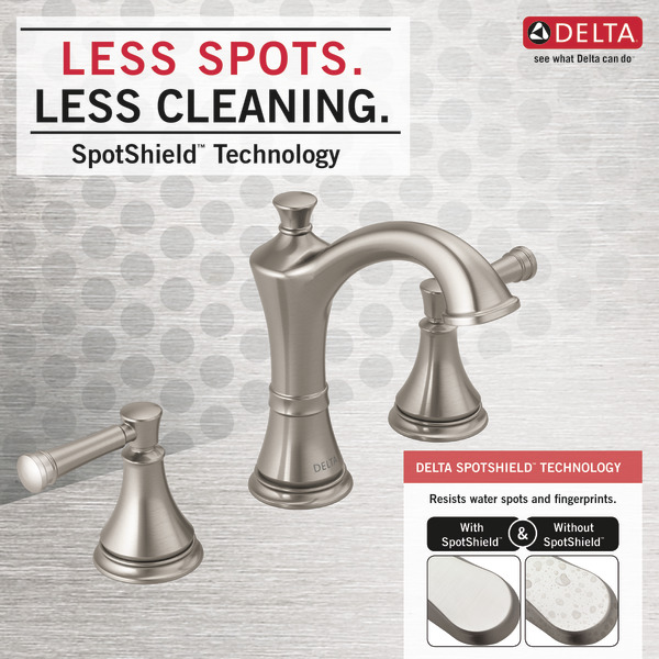 Two Handle Widespread Bathroom Faucet 35757LF-SP   Delta Faucet