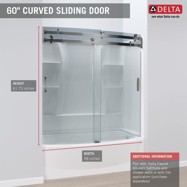 60 X 30 Curved Bathtub Shower Door