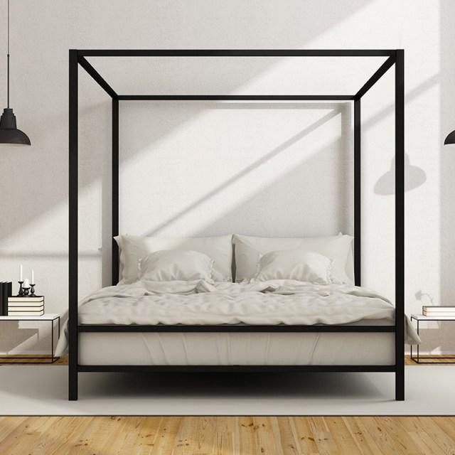 Büyük gölgelikli yatak veya duvar yatağı, modern küçük yatak odası iç mekanları için iyi seçeneklerdir.