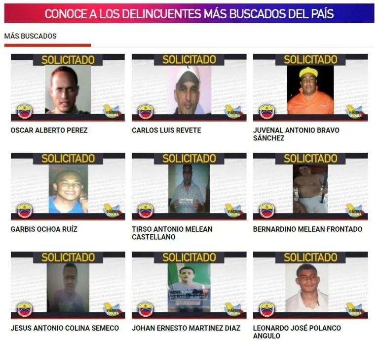 La página web de Ministerio de Interior y Justicia muestra una lista con las fotos de los delincuentes más buscados del país.