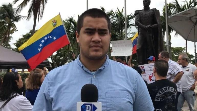 Aarón Villamizar, activista del partido Voluntad Popular en EEUU.