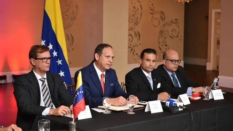 Los magistrados Pedro Tinoco; Miguel Ángel Martin (presidente del TSJ);Rommen Gil Pino y Antonio
