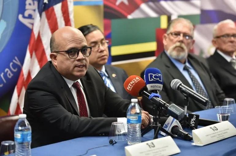 El magistrado Antonio Marval Jiménez durante la audiencia en Miami.