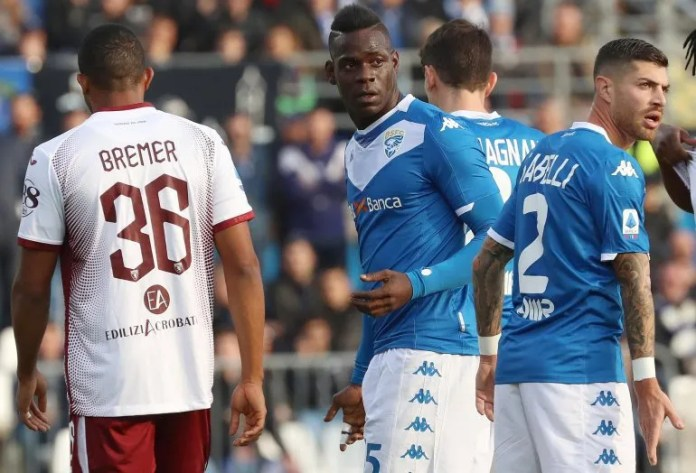 This photo archive of the Saturday 9th of November 2019 shows the scorer of the Brescia Mario Balotelli, center, during a game of the Serie A against Torino at the stadium Mario Rigamonti in Brescia, Italy.