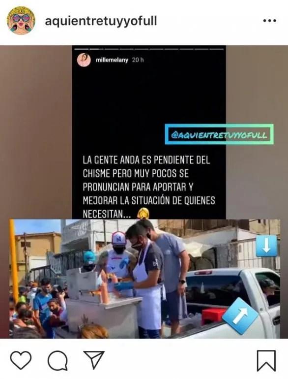 Publicaciones en cuentas de Instagram reprodujeron el momento en el que Melany Mille no se bajó de la camioneta en la que Nacho estaba repartiendo perros calientes en Margarita.