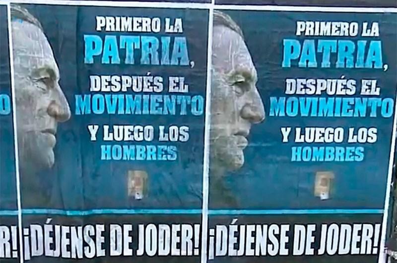 Los afiches tienen el perfil de Juan Domingo Perón y una de sus 20 verdades. Captura de TV