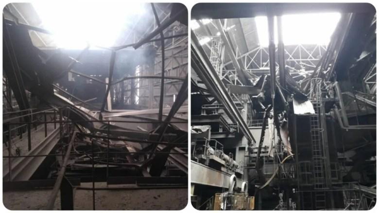 Imágenes de los daños en la planta de Siderar en San Nicolás.