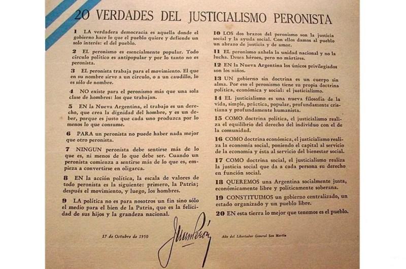 """Las """"Veinte verdades del Justicialismo Peronista"""" expresadas por Juan Domingo Perón el 17 de octubre de 1950."""
