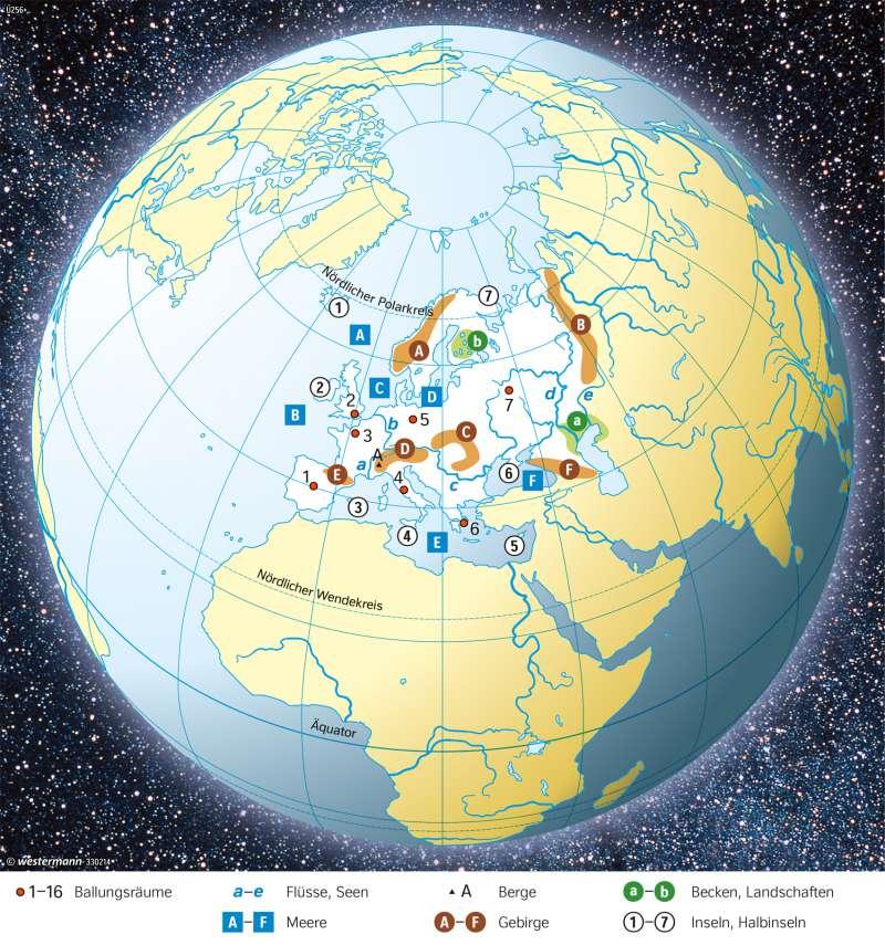 Diercke Weltatlas Kartenansicht Europa Topographie