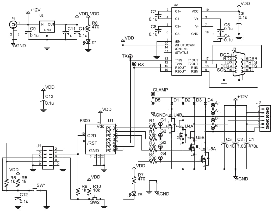 Unipolar Stepper Circuit Schematic