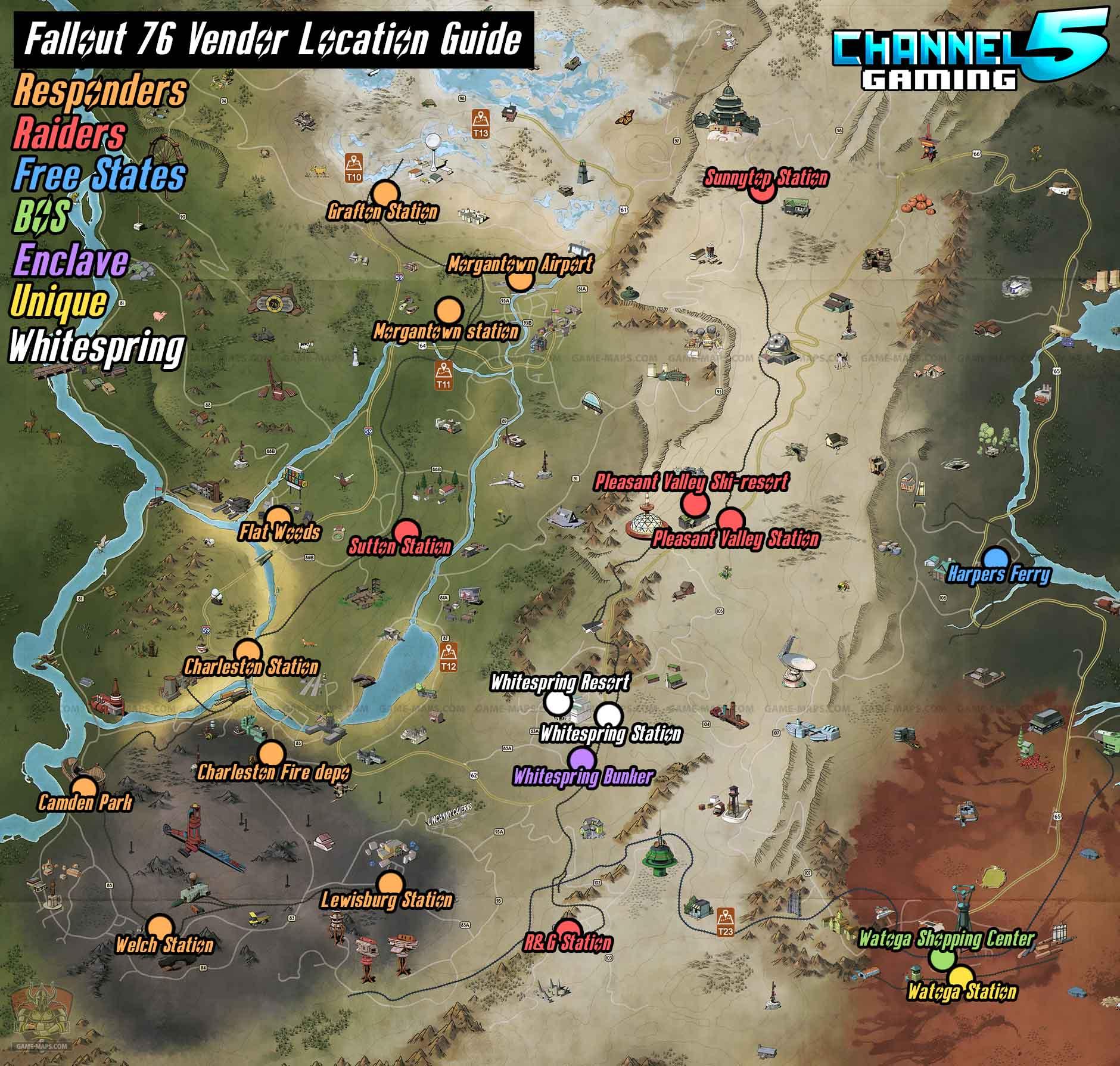 All Vendor Locations Map Fo76
