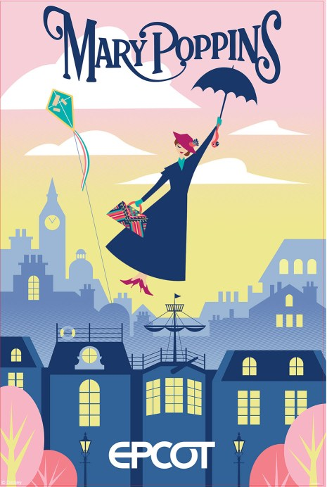 Poster for the brand new Mary Poppins attraction coming to the United Kingdom Pavilion in Epcot