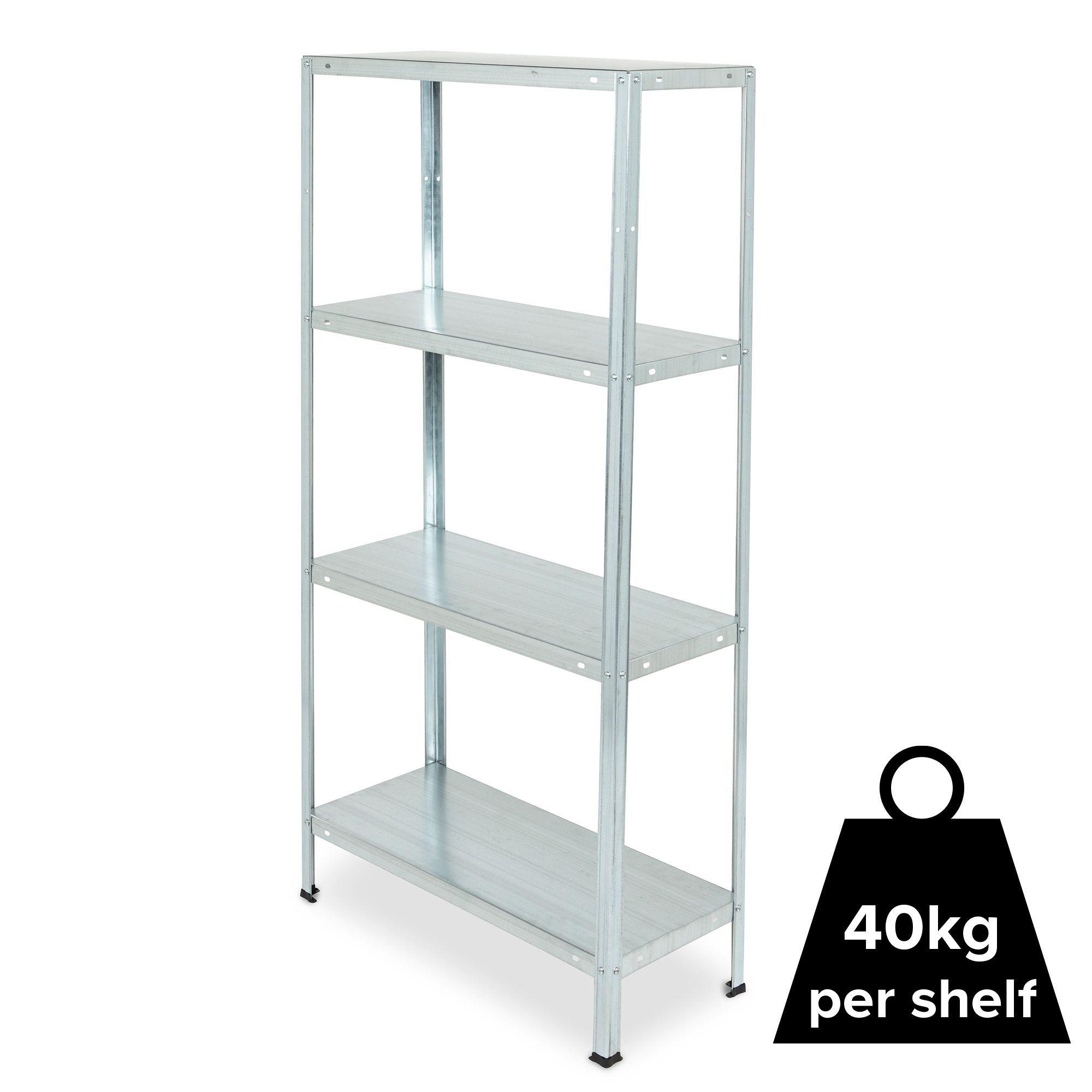 4 shelf steel shelving unit h 1400mm w 700mm