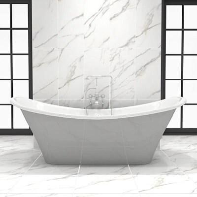 aquila white satin carrara stone effect porcelain floor tile pack of 5 l 450mm w 450mm