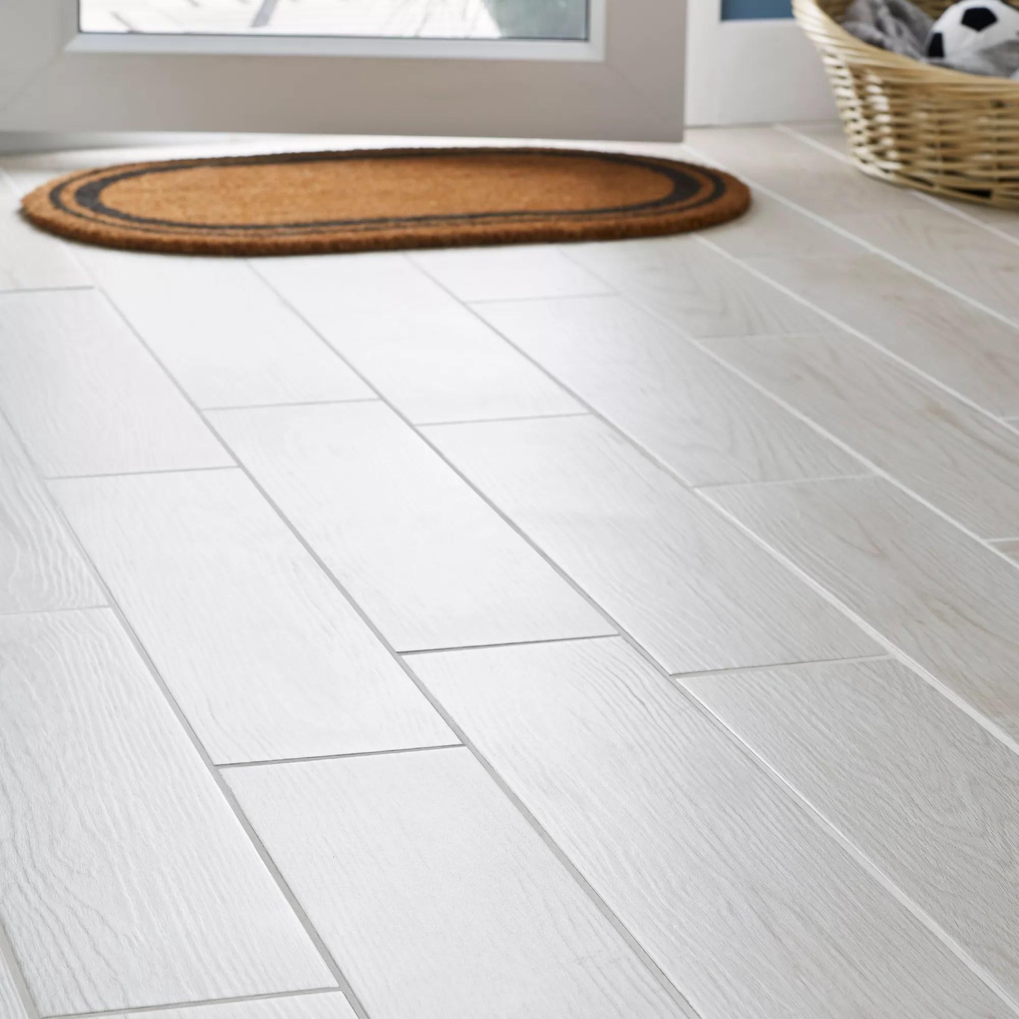 arrezo white matt wood effect porcelain floor tile pack of 14 l 600mm w 150mm