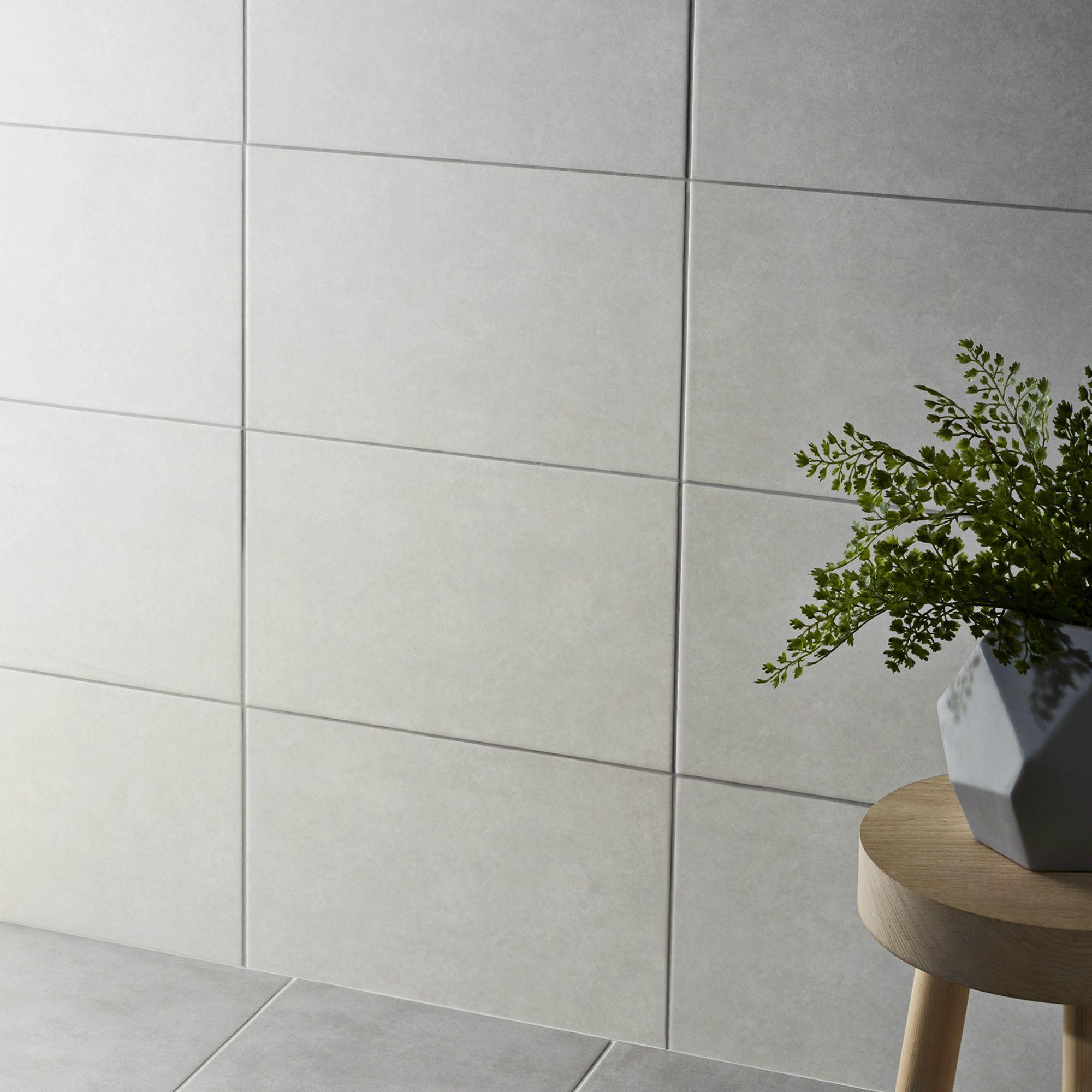 cimenti light grey matt ceramic wall tile pack of 10 l 400mm w 250mm