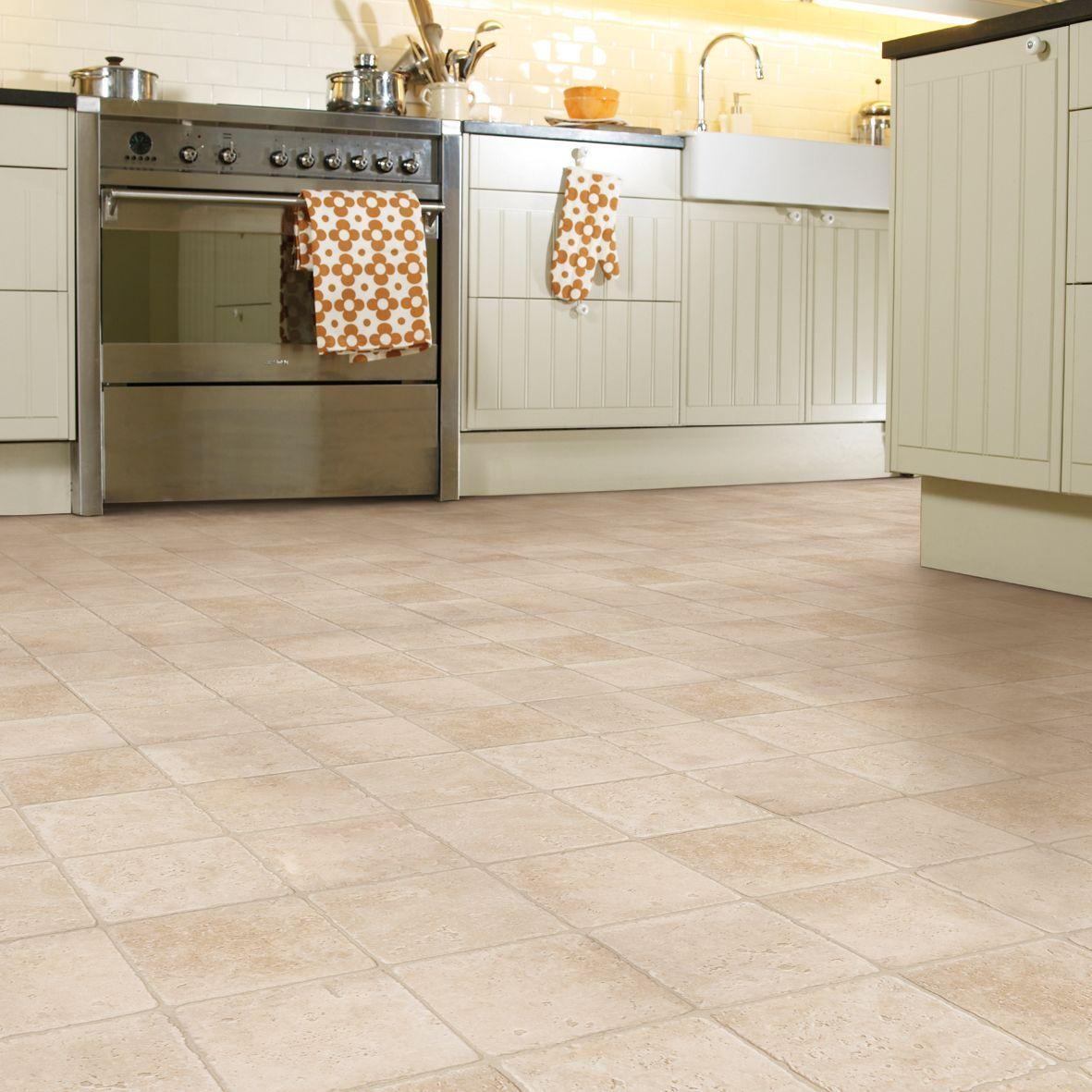 colours valiha beige tile effect vinyl flooring 6m