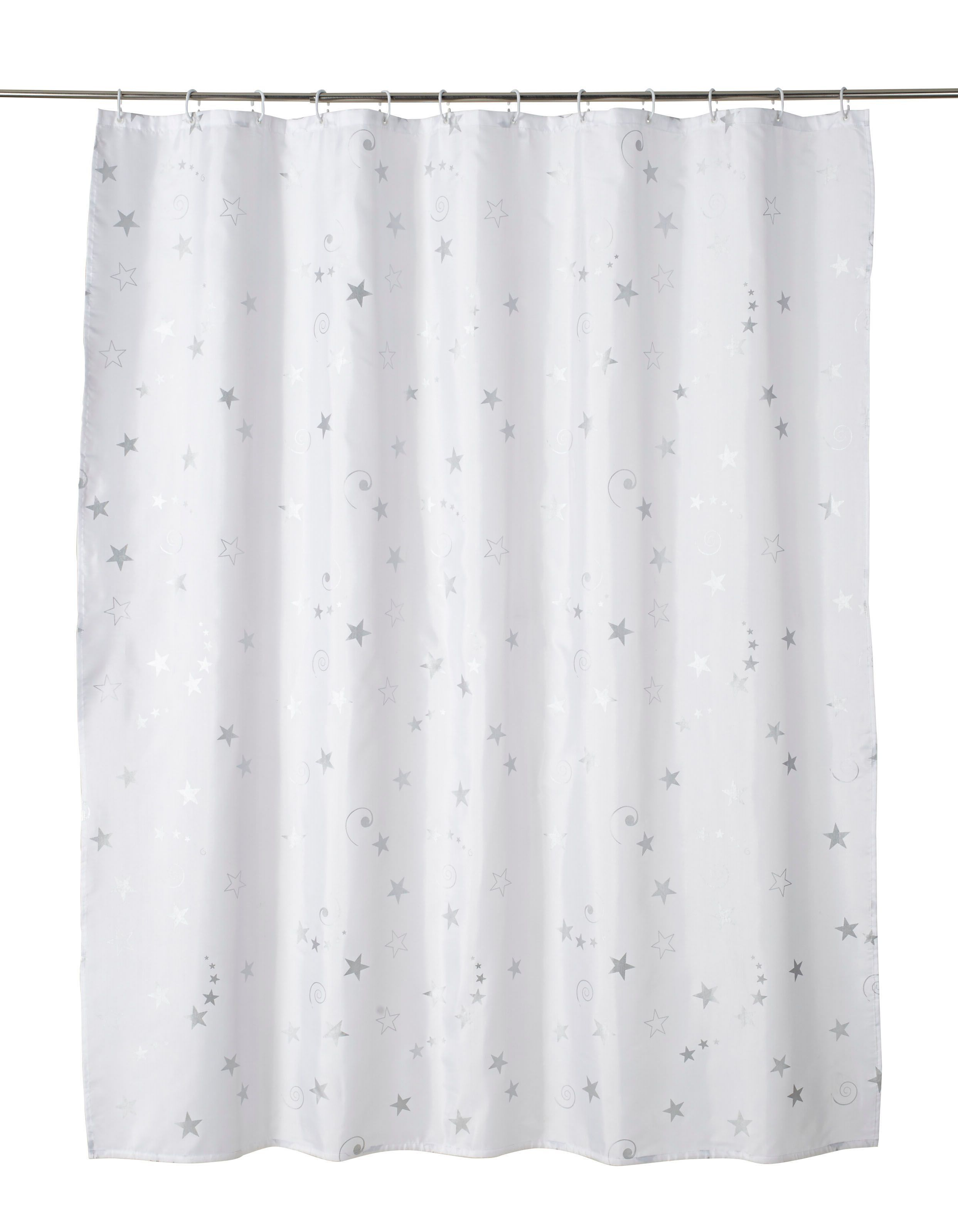 cooke lewis drawa white silver star shower curtain l 1800mm
