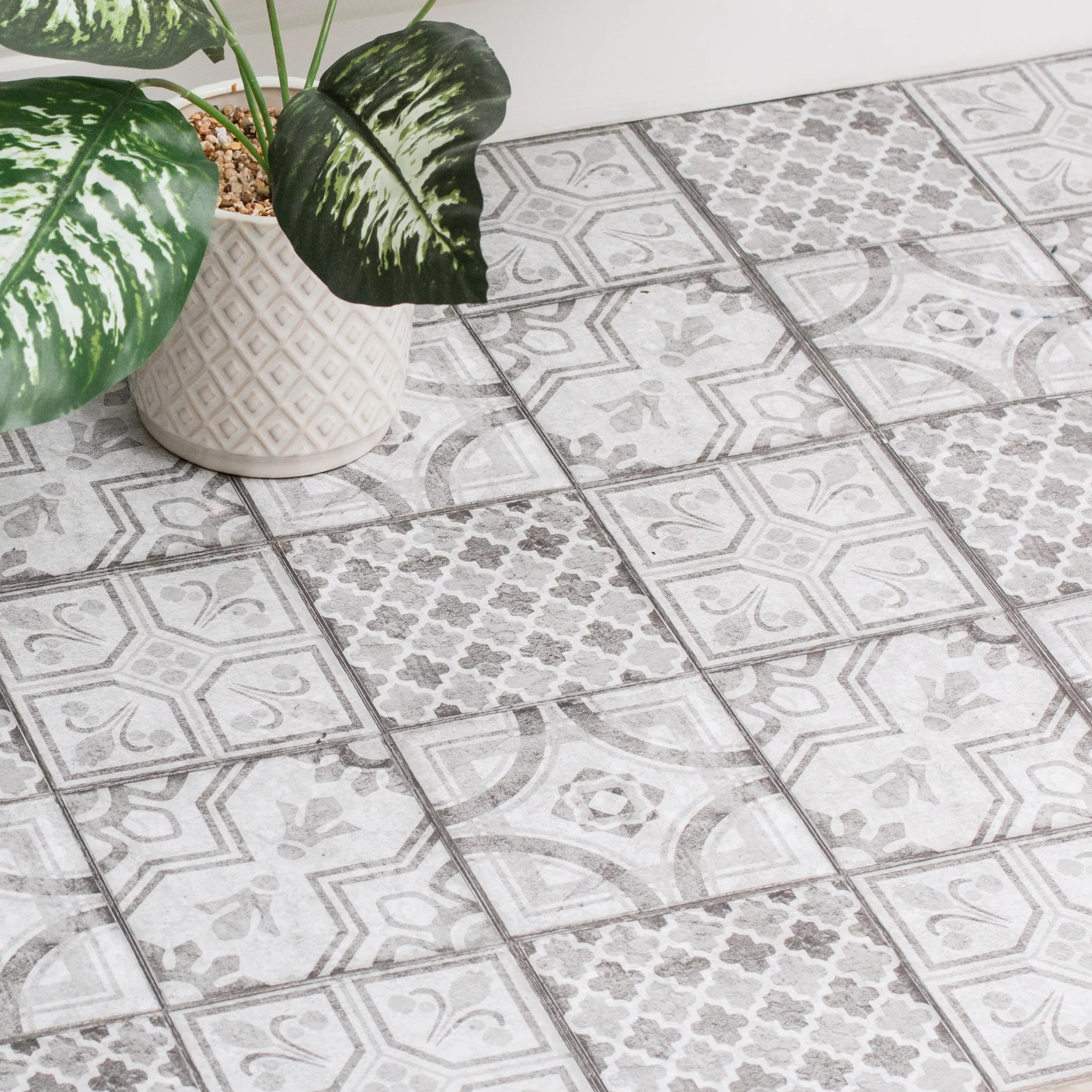d c fix grey white moroccan tile effect self adhesive vinyl tile pack of 11