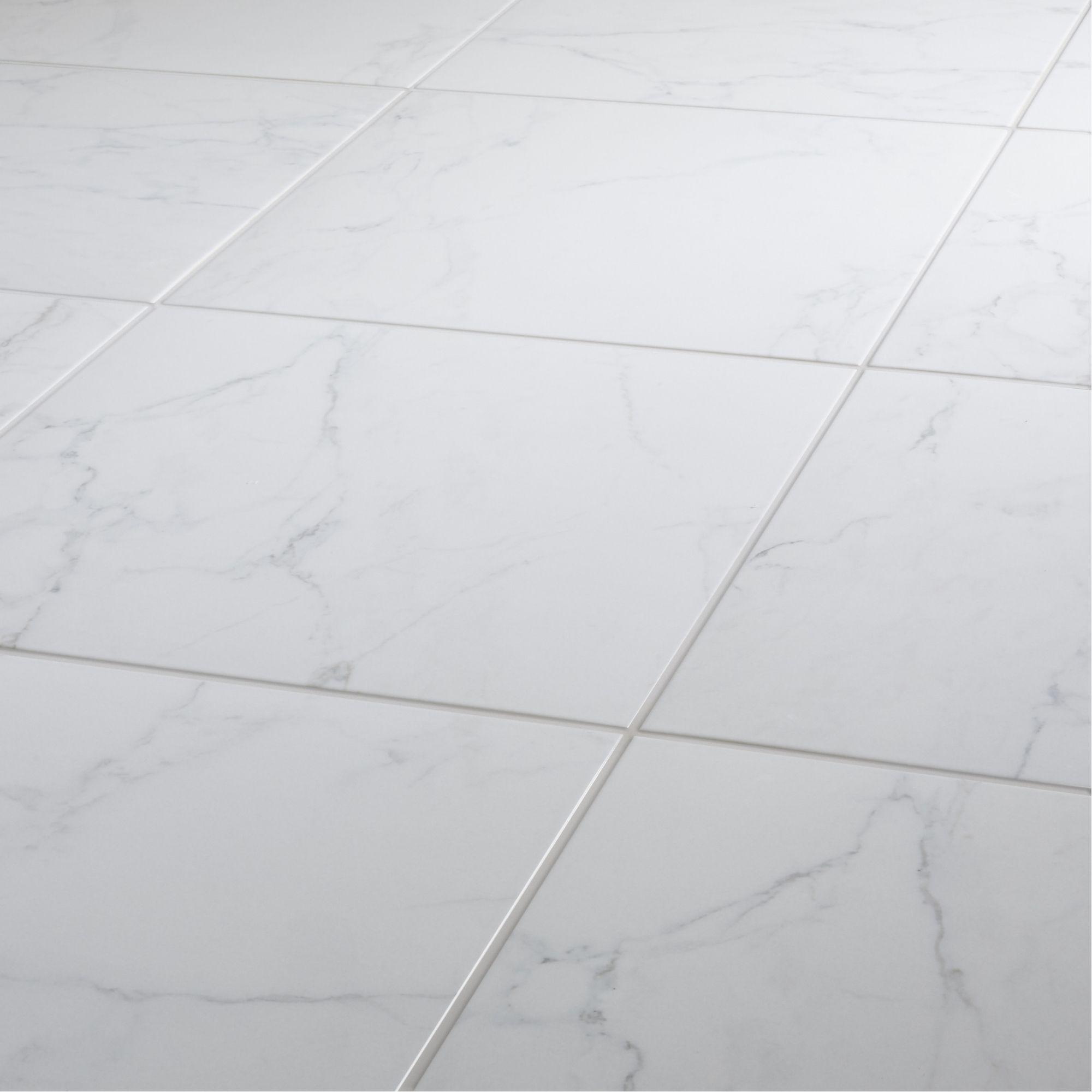 elegance white gloss marble effect ceramic floor tile pack of 7 l 450mm w 450mm