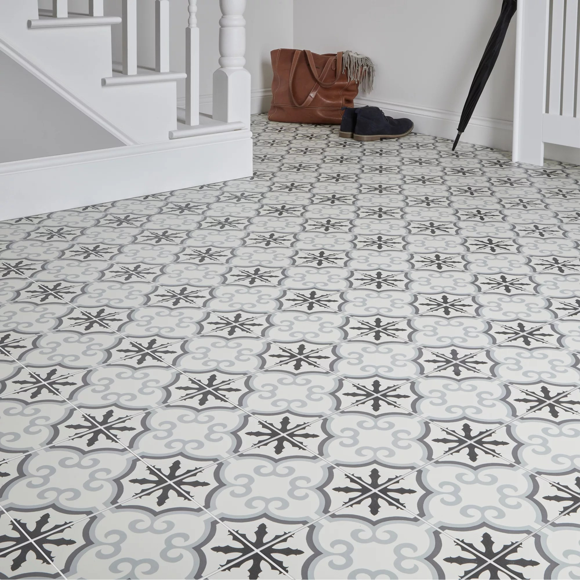 hydrolic black white matt flower porcelain floor tile pack of 25 l 200mm w 200mm