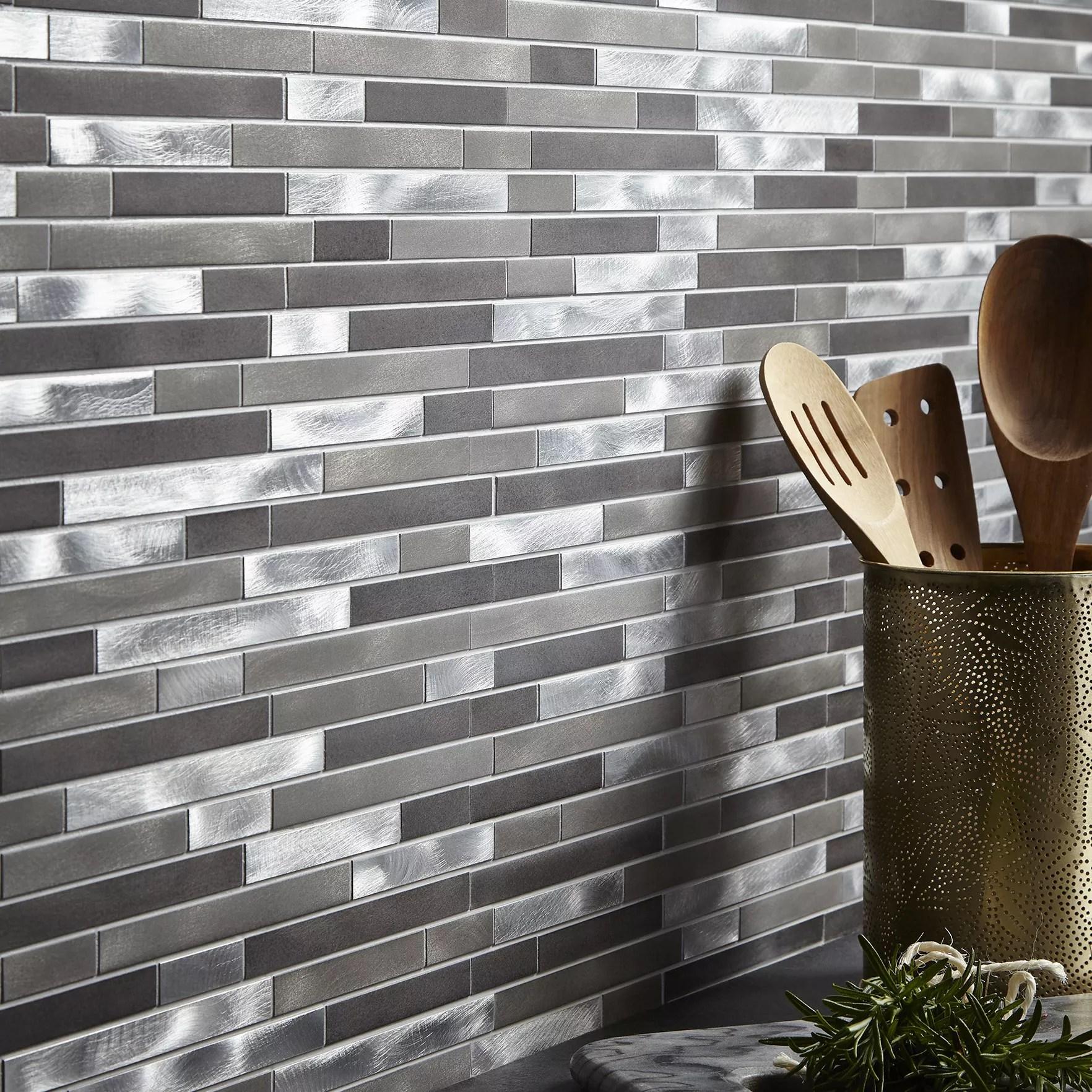 naplo grey metal effect mosaic aluminium mosaic tile l 304mm w 300mm