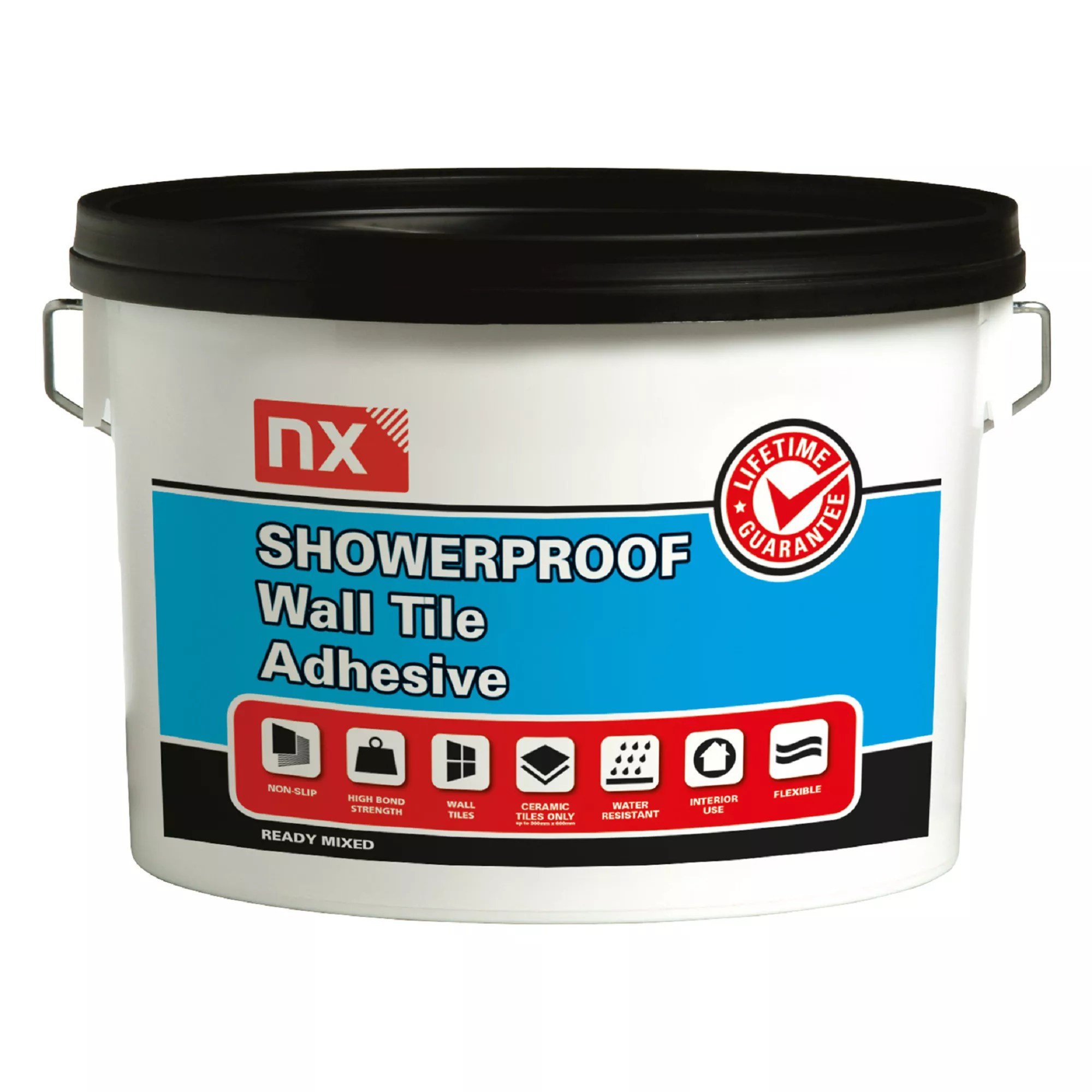 nx showerproof ready mixed bright white wall tile adhesive 2 5kg