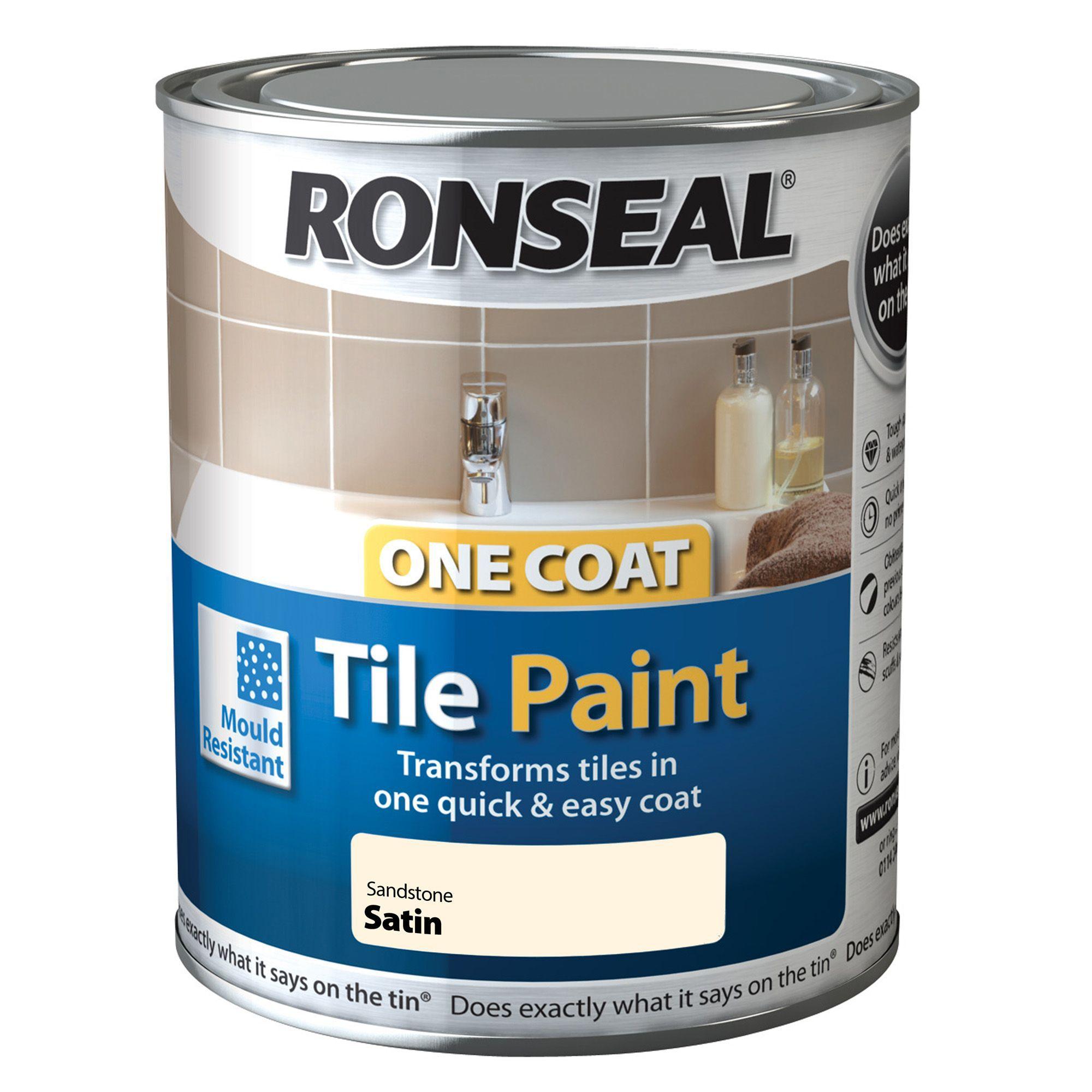 ronseal tile paints sandstone satin tile paint 0 75l