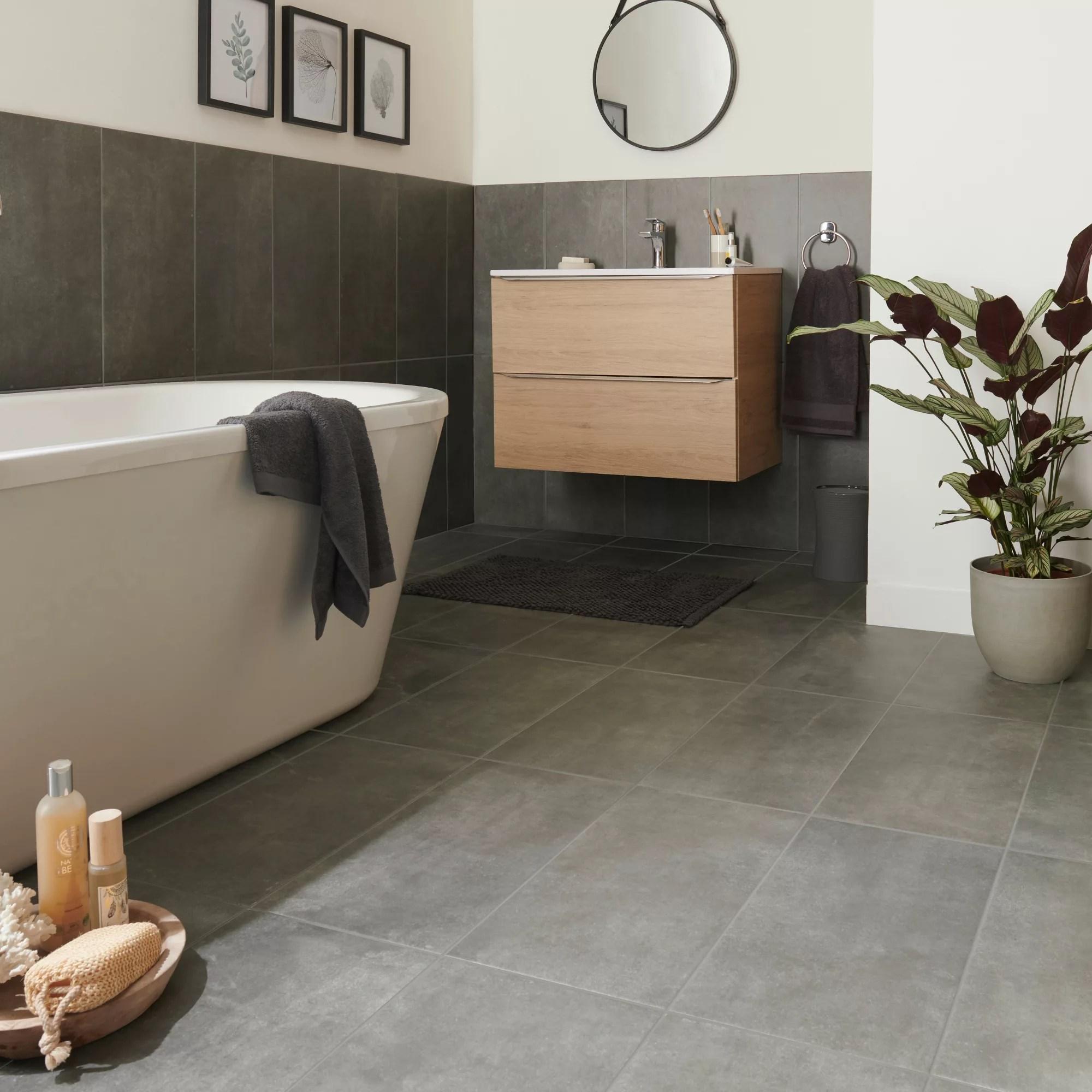 structured grey matt concrete effect porcelain floor tile pack of 6 l 600mm w 300mm