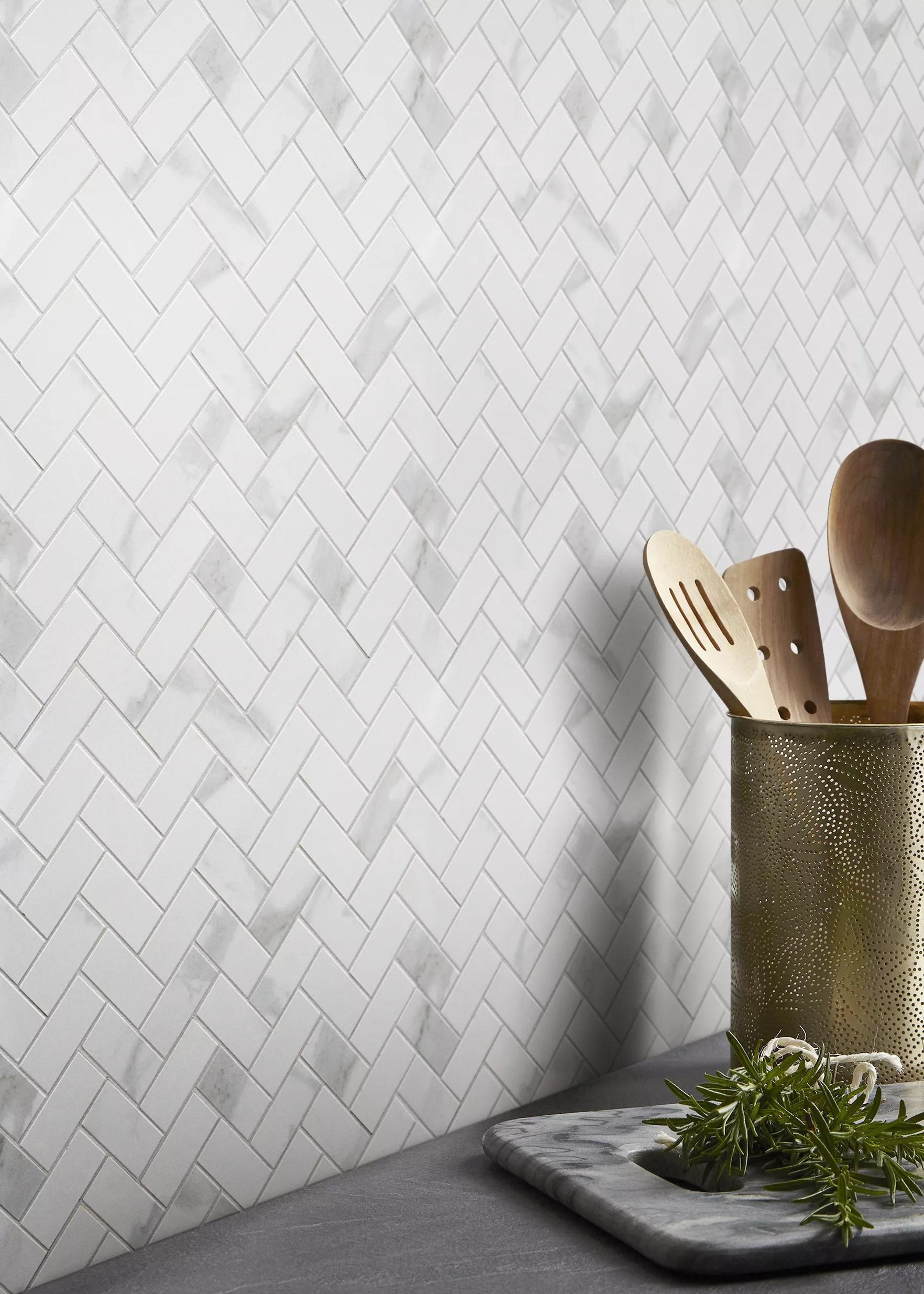 ultimate white marble effect herringbone porcelain mosaic tile sheets l 300mm w 300mm