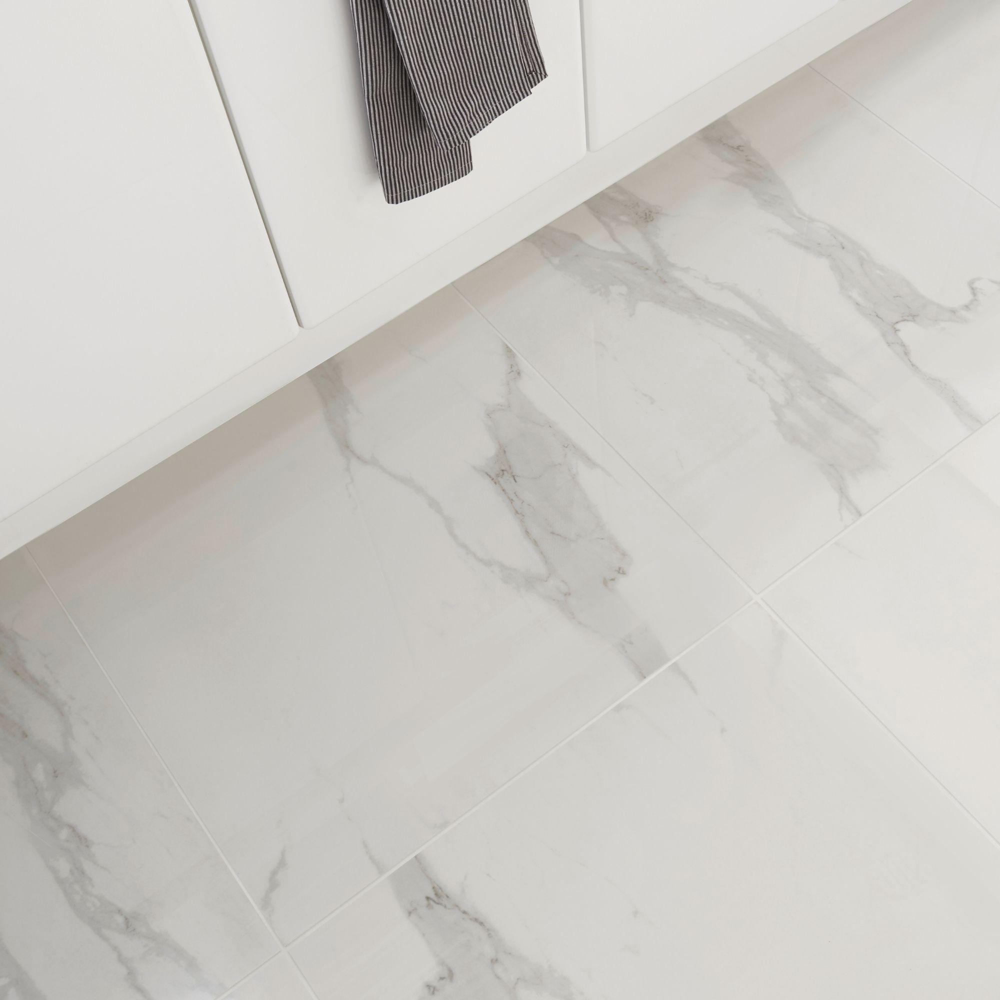 ultimate white marble effect porcelain floor tile pack of 3 l 595mm w 595mm