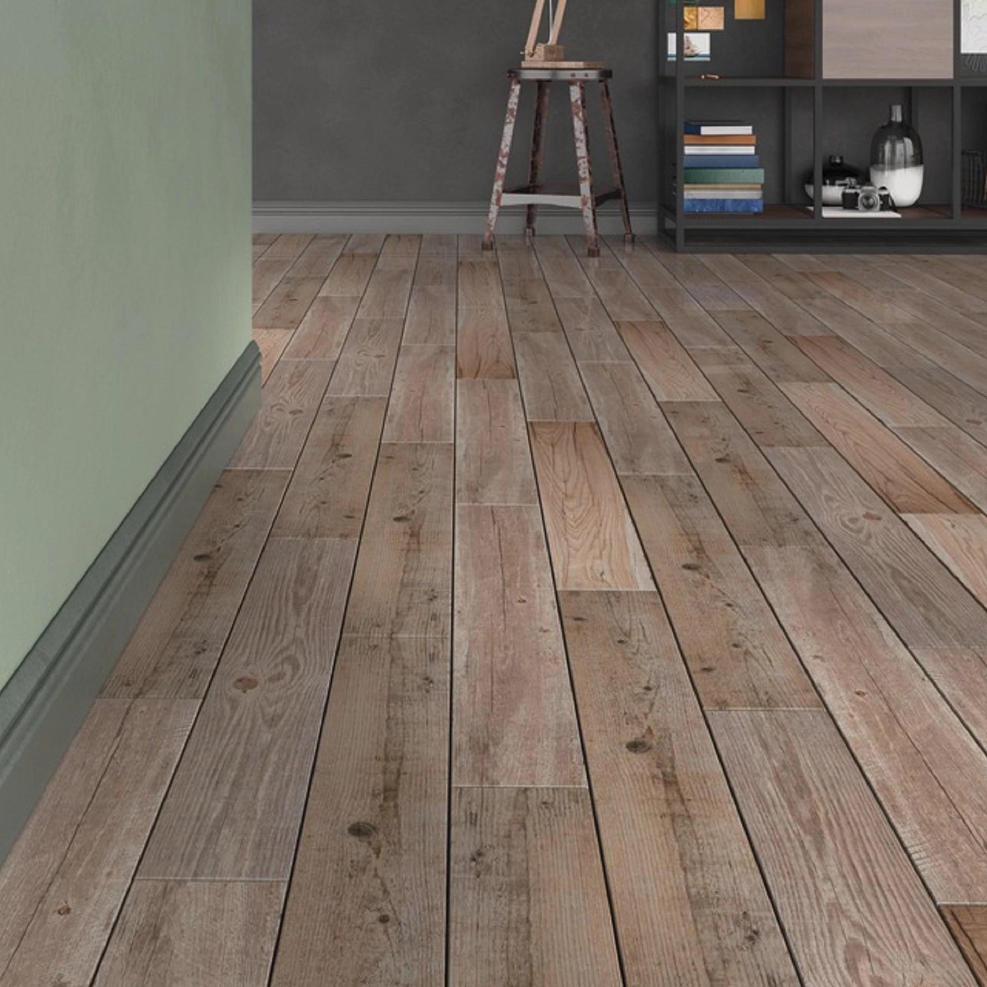 vintage oak natural matt wood effect porcelain floor tile pack of 7 l 900mm w 150mm