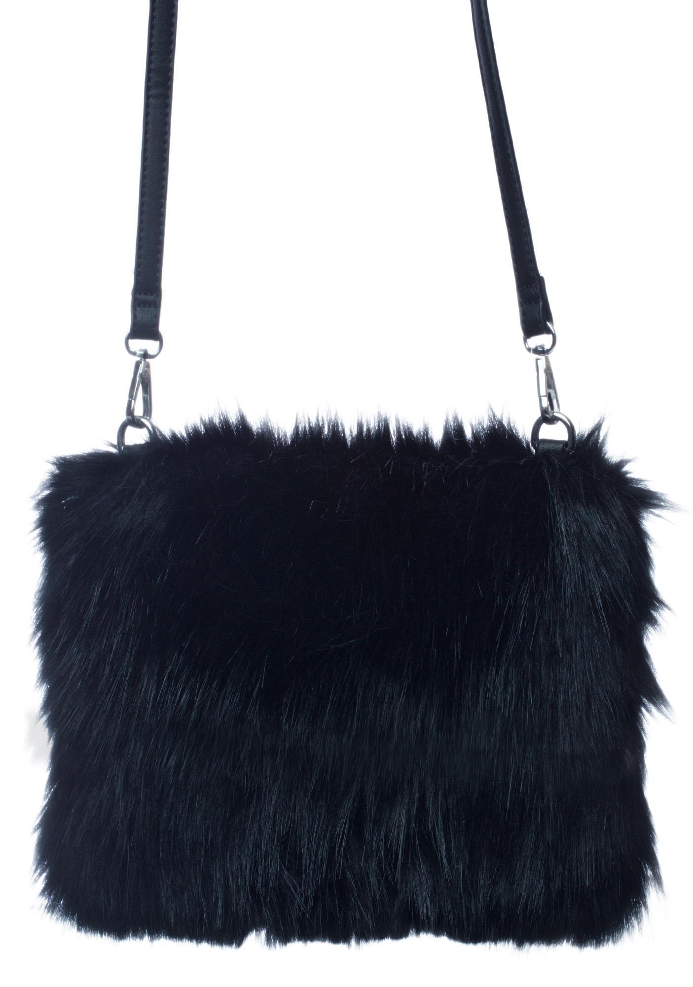 Black Faux Fur Hand Warmer Bag Dolls Kill