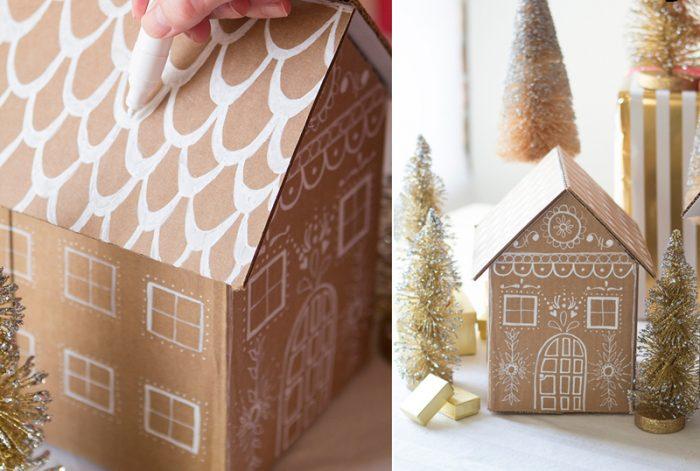 Novoroční dům lepenky Udělejte to sami: budovy jsou stejné, ale jiné