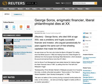 George Soros Killed by Reuters
