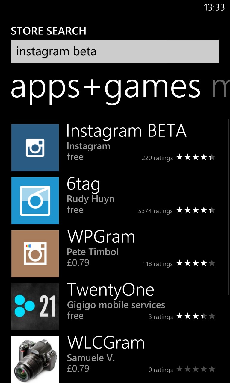 Instagram BETA pe Windows Phone