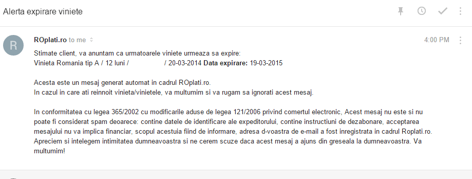 SPAM cu expirarea rovinietei de la ROplati.ro